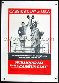 1s056 A.K.A. CASSIUS CLAY linen int'l one-sheet '70 champion boxer Muhammad Ali & Statue of Liberty!