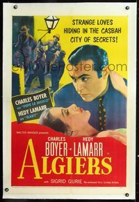 1s060 ALGIERS linen 1sh R53 romantic close up of Charles Boyer & pretty Hedy Lamarr in the Casbah!