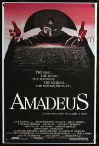 1s061 AMADEUS linen one-sheet movie poster '84 Milos Foreman, Mozart biography, cool artwork!