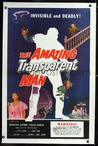 1s062 AMAZING TRANSPARENT MAN linen 1sh '59 Edgar Ulmer, cool art of the invisible & deadly convict!