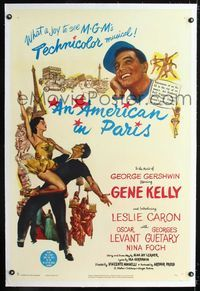1s064 AMERICAN IN PARIS linen 1sheet '51 wonderful artwork of Gene Kelly dancing with Leslie Caron!
