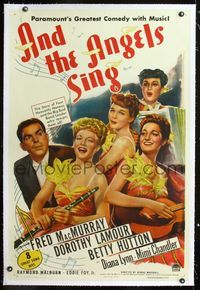 1s065 AND THE ANGELS SING linen 1sh '44 artwork of Fred MacMurray with Dorothy Lamour & sexy band!
