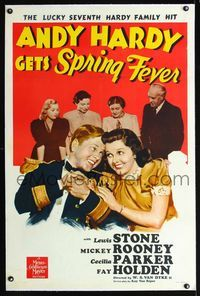1s066 ANDY HARDY GETS SPRING FEVER linen style D 1sh '39 romantic art of Mickey Rooney & Rutherford!