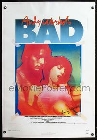 1s067 ANDY WARHOL'S BAD linen signed one-sheet '77 by Andy Warhol, guaranteed authentic signature!