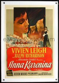 1s069 ANNA KARENINA linen one-sheet '48 Julien Duvivier, art of Vivien Leigh in Leo Tolstoy's story!