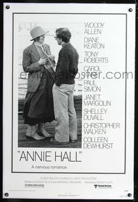 1s070 ANNIE HALL linen one-sheet movie poster '77 Woody Allen, Diane Keaton, a nervous romance!