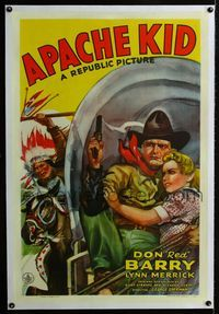 1s071 APACHE KID linen 1sh '41 art of Don Red Barry & Lynn Merrick on stagecoach chased by Indian!