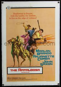 1s072 APPALOOSA linen one-sheet movie poster '66 Marlon Brando lives on the edge of violence!