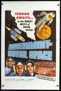 1s073 ASSIGNMENT-OUTER SPACE linen one-sheet '62 Antonio Margheriti Italian sci-fi, terror awaits!