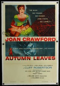 1s074 AUTUMN LEAVES linen one-sheet '56 Cliff Robertson was young and Joan Crawford was lonely!