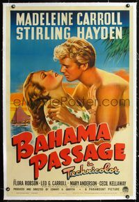 1s076 BAHAMA PASSAGE linen 1sheet '41 romantic artwork of sexy Madeleine Carroll & Sterling Hayden!
