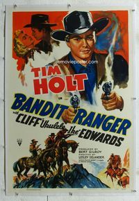 1s077 BANDIT RANGER linen style A one-sheet '42 wonderful artwork of Tim Holt with two smoking guns!