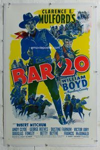 1s078 BAR 20 linen one-sheet poster R40s cool full-length art of William Boyd as Hopalong Cassidy!