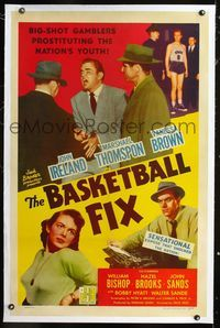 1s079 BASKETBALL FIX linen 1sh '51 big-shot gamblers prostituting the nation's youth rigging games!