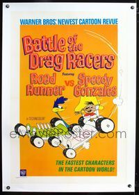 1s080 BATTLE OF THE DRAG RACERS linen 1sh '66 great art of Speedy Gonzales vs Road Runner in cars!