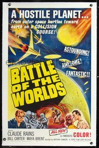 1s081 BATTLE OF THE WORLDS linen 1sh '61 cool Italian sci-fi, flying saucers from an enemy planet!