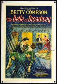 1s082 BELLE OF BROADWAY linen 1sh '26stone litho art of Betty Compson held by her lover in the rain!