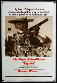 1s084 BIG JAKE linen style B one-sheet '71 John Wayne was a legend of a man who fought through Hell!