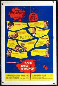 1s085 BIG KNIFE linen 1sh '55 Robert Aldrich, Jack Palance, Ida Lupino, Shelley Winters, Rod Steiger