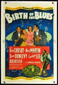 1s090 BIRTH OF THE BLUES linen 1sh '41 Bing Crosby, Carolyn Lee, Brian Donlevy,Mary Martin,Rochester