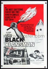 1s091 BLACK KLANSMAN linen 1sheet '66 wild artwork of hooded black man in KKK outfit holding torch!