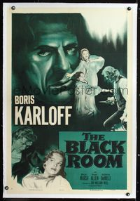 1s092 BLACK ROOM linen one-sheet movie poster R55 cool huge headshot artwork of Boris Karloff!