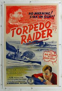 1s095 BORN FOR GLORY linen one-sheet R40 John Mills, WWI, Torpedo Raider, artwork image of Hitler!