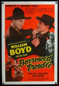 1s096 BORROWED TROUBLE linen one-sheet '48 close up of William Boyd as Hopalong Cassidy fighting!