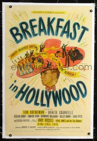 1s097 BREAKFAST IN HOLLYWOOD linen 1sheet '46 Spike Jones and His City Slickers, Nat King Cole Trio!