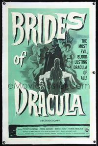 1s098 BRIDES OF DRACULA linen one-sheet '60 Terence Fisher, Hammer, Peter Cushing as Van Helsing!