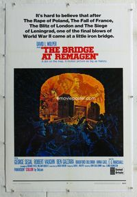 1s099 BRIDGE AT REMAGEN linen style B one-sheet '69 George Segal, really cool World War II artwork!
