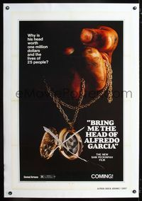 1s101 BRING ME THE HEAD OF ALFREDO GARCIA linen advance 1sh '74 his head worth one million dollars!