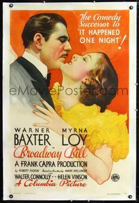 1s102 BROADWAY BILL linen 1sh '34 Frank Capra horse racing comedy, art of Warner Baxter & Myrna Loy!