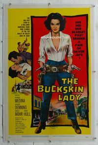1s104 BUCKSKIN LADY linen one-sheet '57 sexy full-length bad cowgirl Medina with both guns drawn!