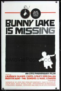 1s107 BUNNY LAKE IS MISSING linen one-sheet '65 Otto Preminger, really cool Saul Bass artwork!