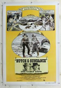 1s108 BUTCH & SUNDANCE - THE EARLY DAYS linen one-sheet '79 artwork of Tom Berenger & William Katt!
