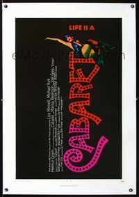 1s109 CABARET linen one-sheet movie poster '72 artworko of singing Liza Minnelli, Bob Fosse