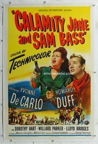 1s110 CALAMITY JANE & SAM BASS linen 1sheet '49 art of sexy Yvonne De Carlo & Howard Duff with guns!