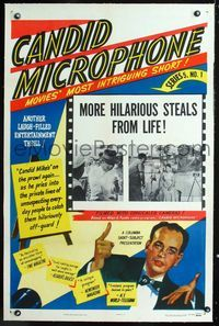 1s111 CANDID MICROPHONE linen one-sheet '52 Allen Funt's radio show before his similar hit TV show!