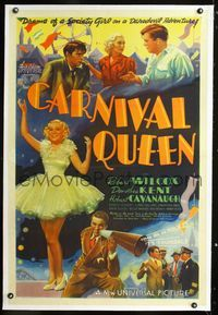 1s113 CARNIVAL QUEEN linen one-sheet movie poster '37 artwork of pretty society girl Dorothea Kent!