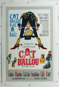 1s115 CAT BALLOU linen one-sheet '65 classic sexy cowgirl Jane Fonda, Lee Marvin, great artwork!