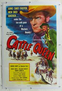 1s118 CATTLE QUEEN linen 1sheet '51 men died under the ice-cold gaze of Western Beauty Maria Hart!