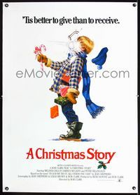 1s120 CHRISTMAS STORY linen English 1sh '83 completely different art of Ralphie hit with snowball!