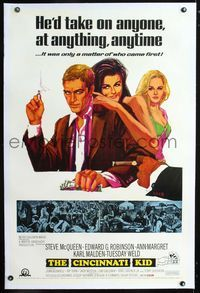 1s121 CINCINNATI KID linen 1sh '65 great art of pro poker player Steve McQueen & sexy Ann-Margret!