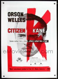 1s122 CITIZEN KANE linen one-sheet R91 some called Orson Welles a hero, others called him a heel!