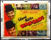 1s018 BLOCK-HEADS linen half-sheet poster R47 great images of Stan Laurel & Oliver Hardy, Hal Roach
