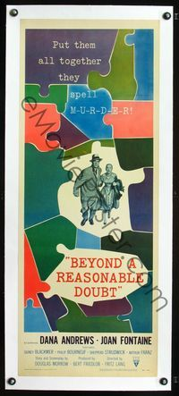 1s030 BEYOND A REASONABLE DOUBT linen insert '56 Fritz Lang film noir, Dana Andrews, Joan Fontaine