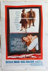 1s094 BOMBERS B-52 linen one-sheet poster '57 sexy Natalie Wood & Karl Malden, No Sleep Till Dawn!