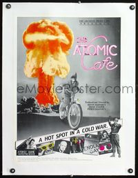 1s017 ATOMIC CAFE linen special 18x24 movie poster '82 great colorful nuclear bomb explosion image!