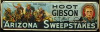 1v027 ARIZONA SWEEPSTAKES cloth banner '26 cool stone litho art of Hoot Gibson & charging cowboys!